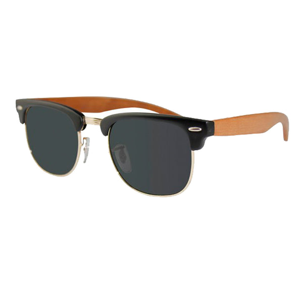 Black and Rosewood Clubmaster Sunglasses (side view) - bamboo