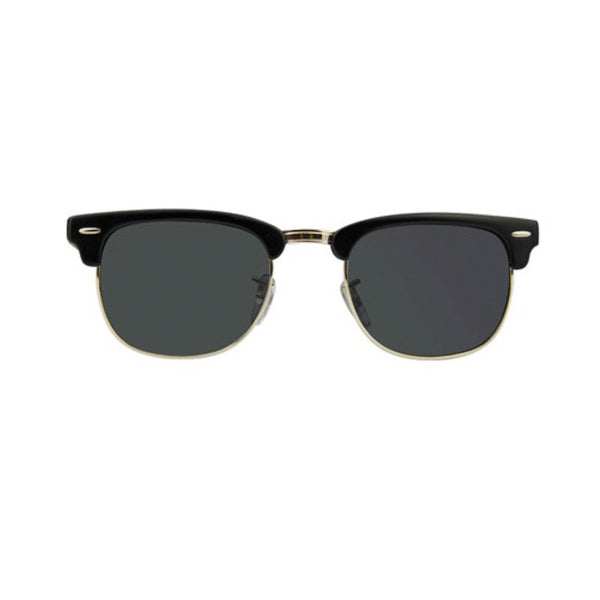 Black and Rosewood Clubmaster Sunglasses (front view) - bamboo