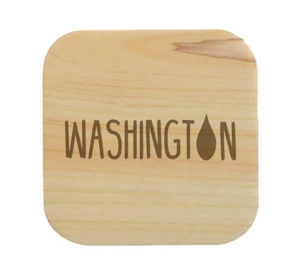 Washington Raindrop Wood Coaster Set of 4