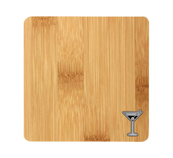 Martini Glass Wood and Metal Coaster Set of 4