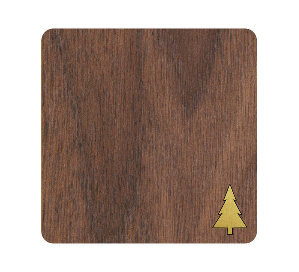 Tree Icon Wood and Metal Coaster Set of 4