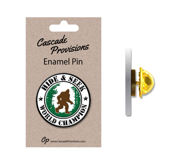 Bigfoot Hide and Seek World Champion Enamel Pin