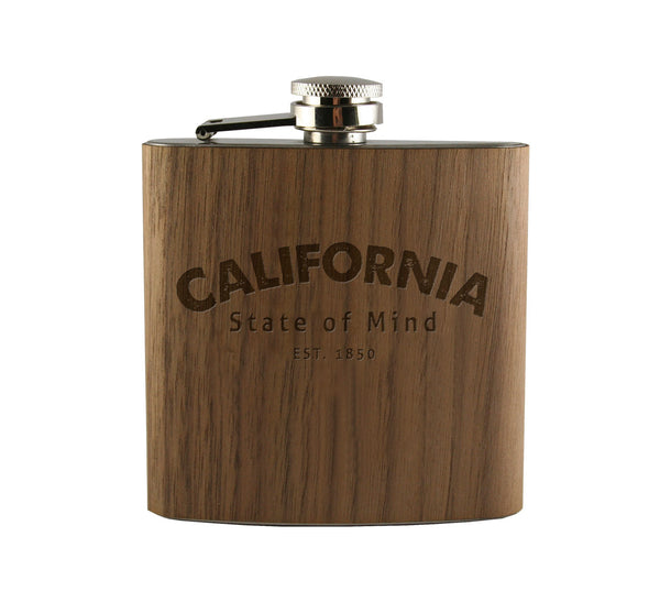 California State of Mind Wood Wrapped Flask
