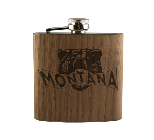 Montana Bear Head Wood Wrapped Flask