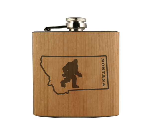Bigfoot in Montana Wood Wrapped Flask