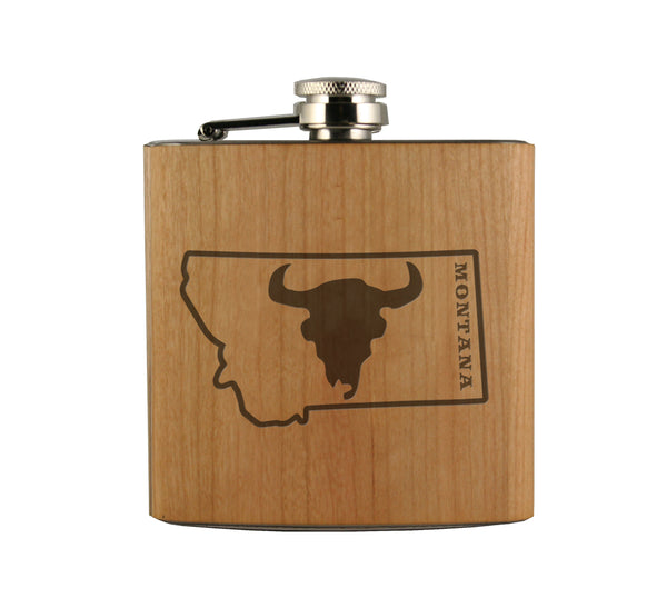 Bison Skull in Montana Wood Wrapped Flask
