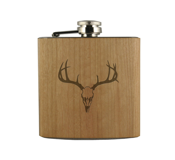 Deer Skull Wood Wrapped Flask