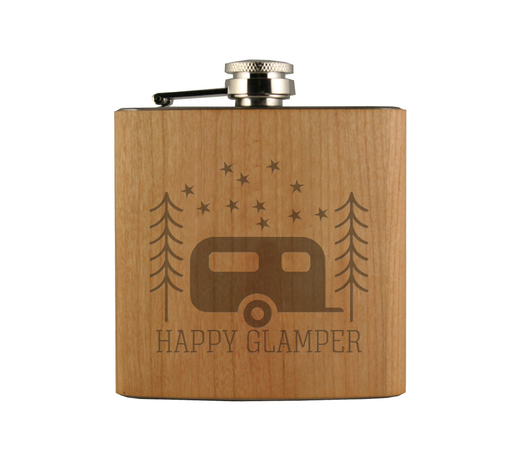 Happy Glamper Wood Wrapped Flask