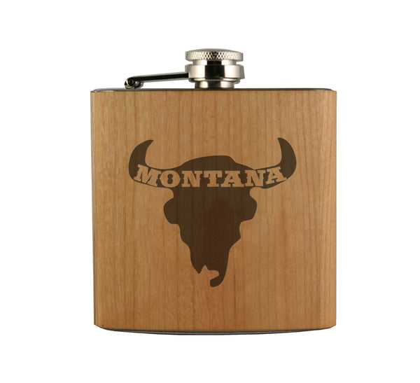 Montana Bison Skull Wood Wrapped Flask