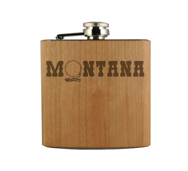 Montana Lasso Wood Wrapped Flask
