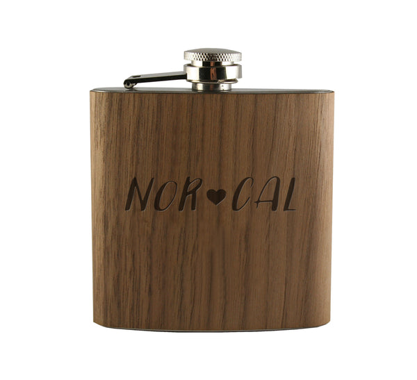Nor Cal Wood Wrapped Flask