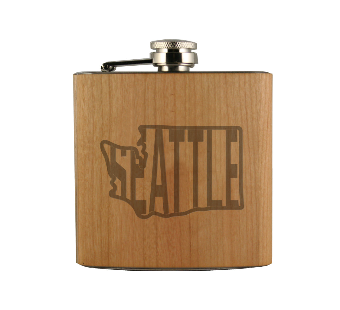 Seattle in WA Wood Wrapped Flask