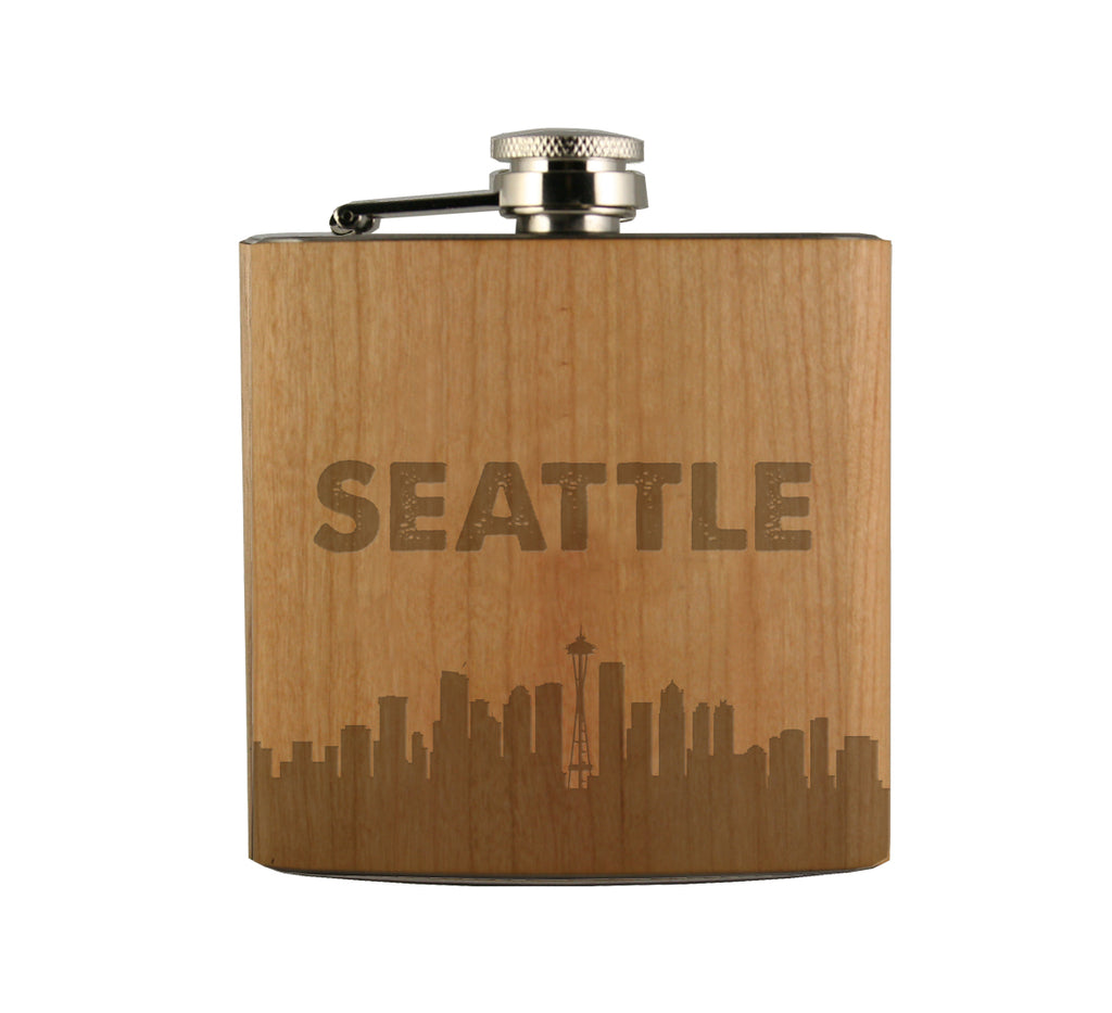 Seattle Skyline Wood Wrapped Flask