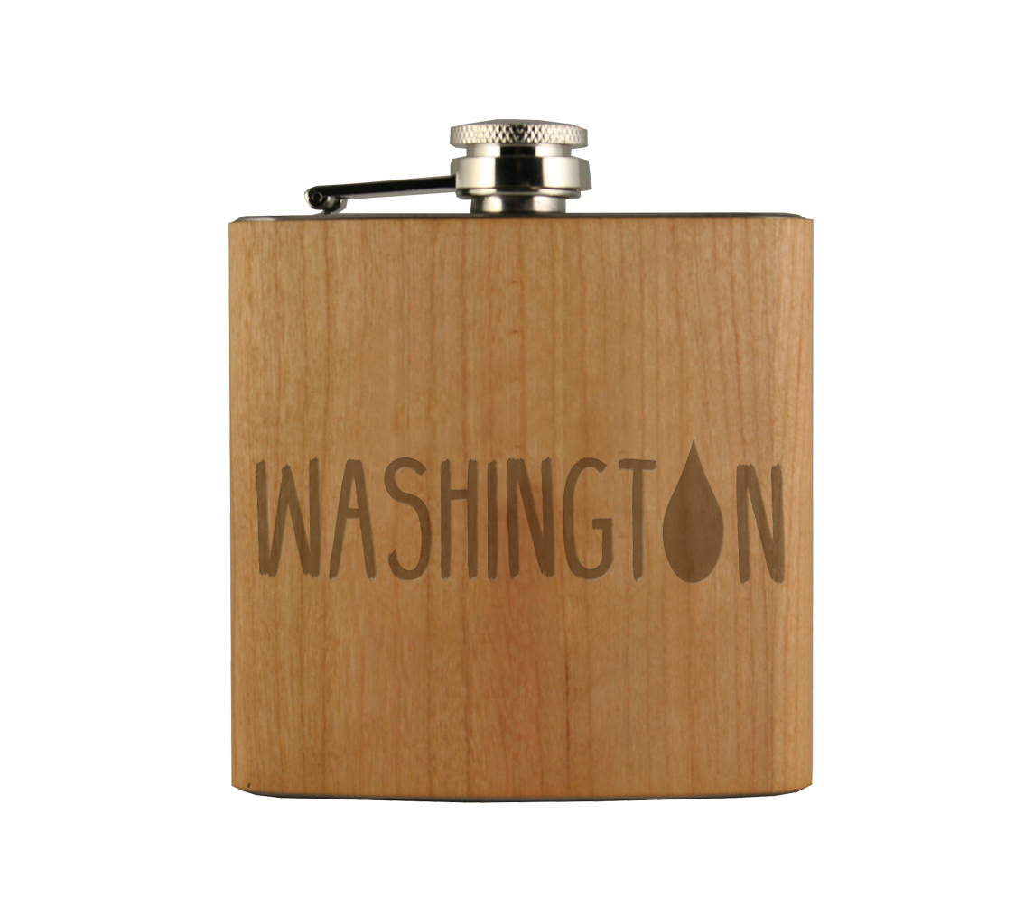 WA Raindrop Wood Wrapped Flask