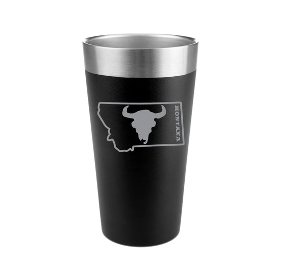 Bison Skull in Montana Stainless Steel Insulated Pint