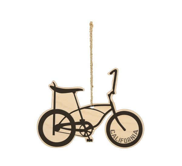 California Banana Bicycle Wood Ornament