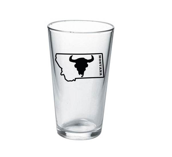 16oz Montana Bison Skull Pint Glass
