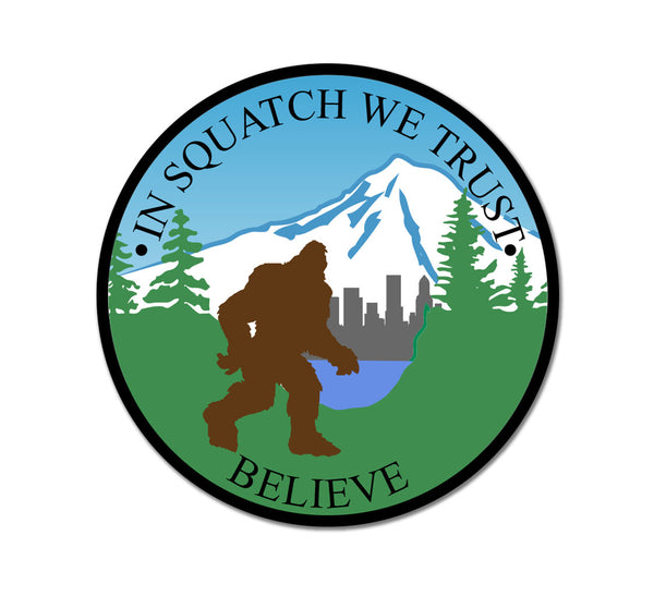 In Squatch We Trust Bigfoot Sticker