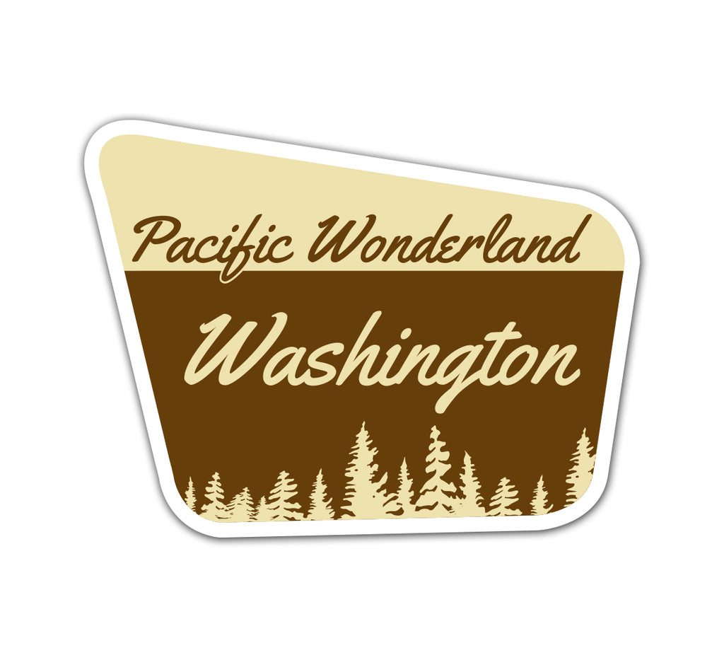 Pacific Wonderland WA Sign Vinyl Sticker