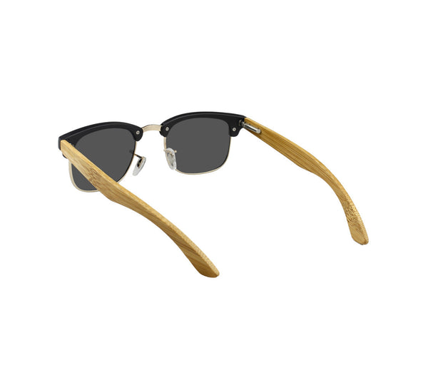 "Black & Blonde Bamboo ""Skidmore"" Sunglasses with Polarized Lenses"