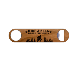 Hide and Seek Champion Wood Bottle Opener