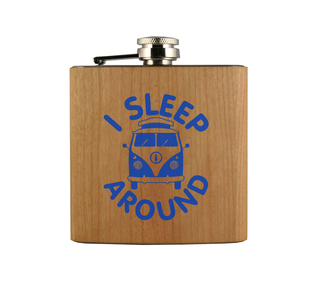 I Sleep Around Van Wood Wrapped Flask