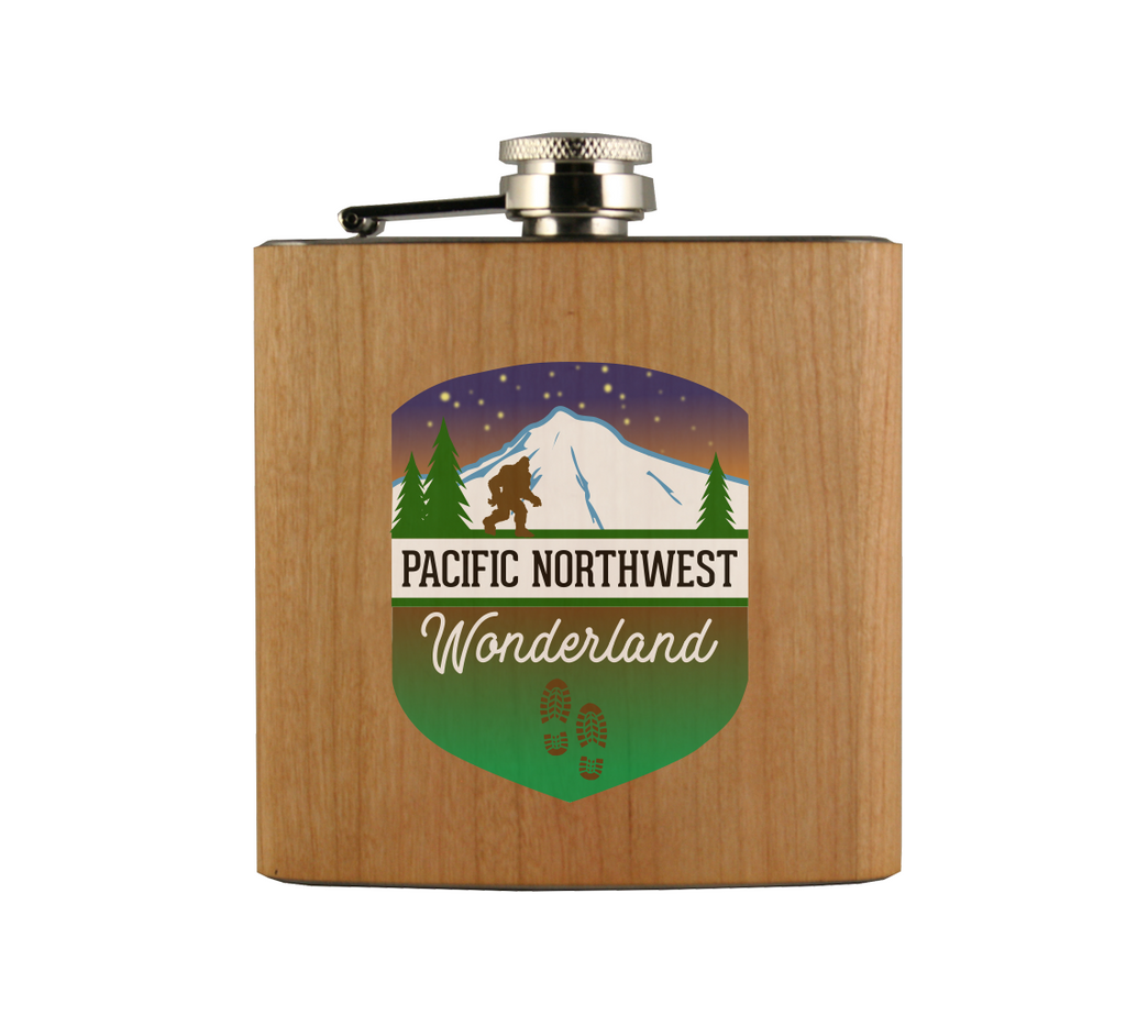 PNW Hiker Badge Wood Wrapped Flask