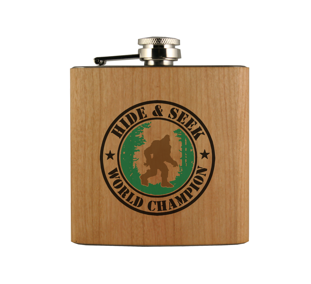 Hide and Seek World Champion Wood Wrapped Flask