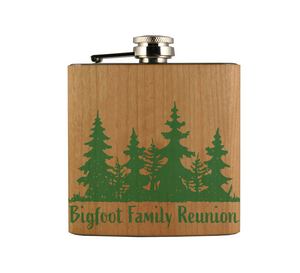 Believe in Bigfoot Wood Wrapped Flask