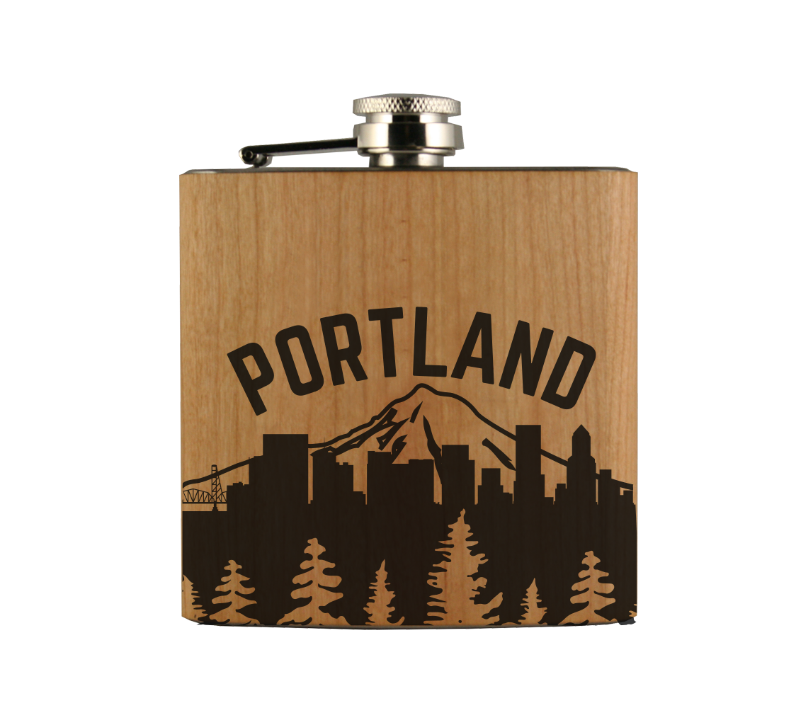 Portland Skyline Wood Wrapped Flask