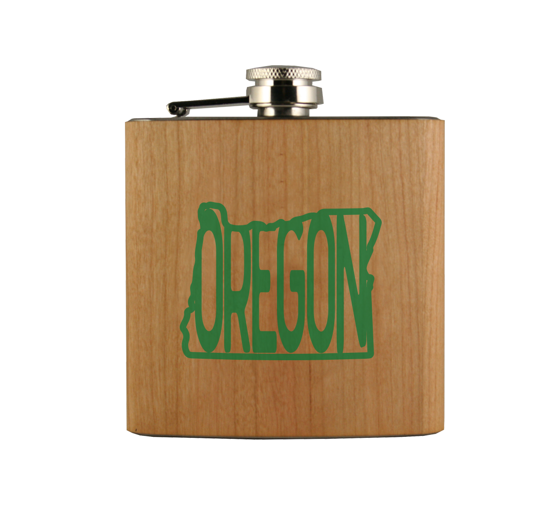 Oregon in OR Wood Wrapped Flask