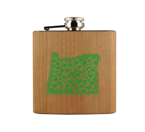 OR Hearts Wood Wrapped Flask