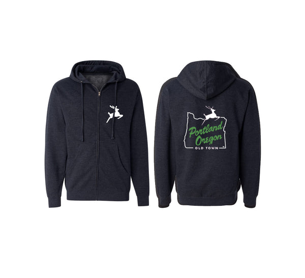 Portland White Stag Hooded Zip Sweatshirt
