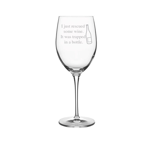 Wine Rescue Engraved Wine Glass