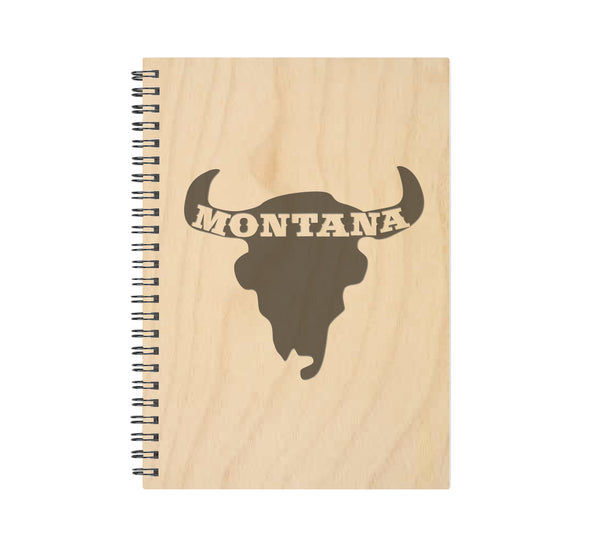 Montana Bison Skull Wood Journal