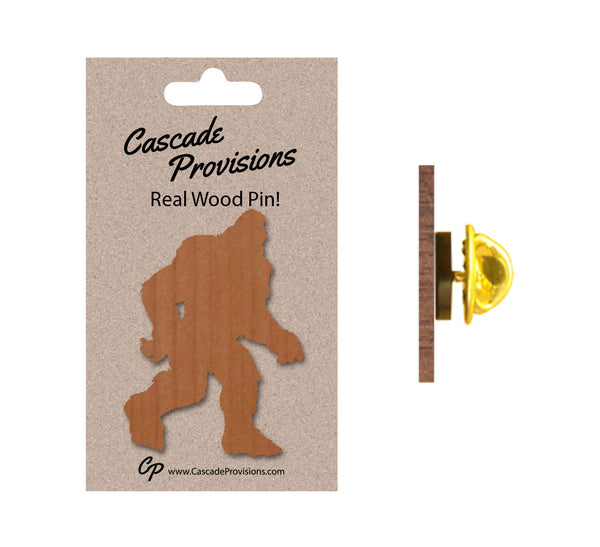 Bigfoot Silhouette Real Wood Pin
