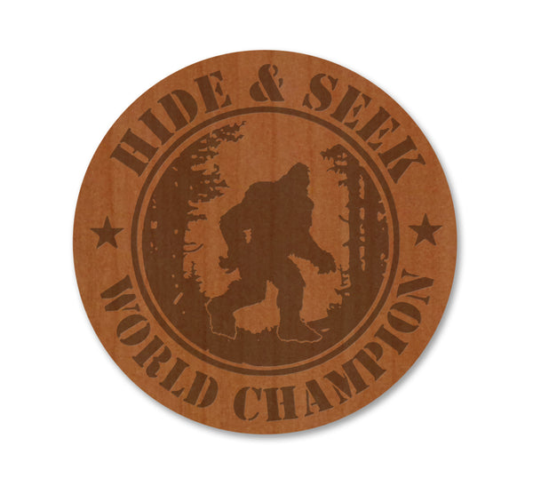 Hide and Seek World Champion Sasquatch Real Wood Magnet