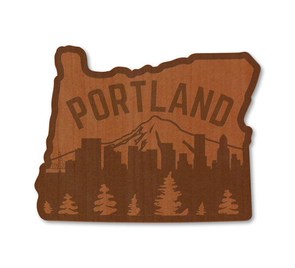 Portland Skyline Real Wood Sticker