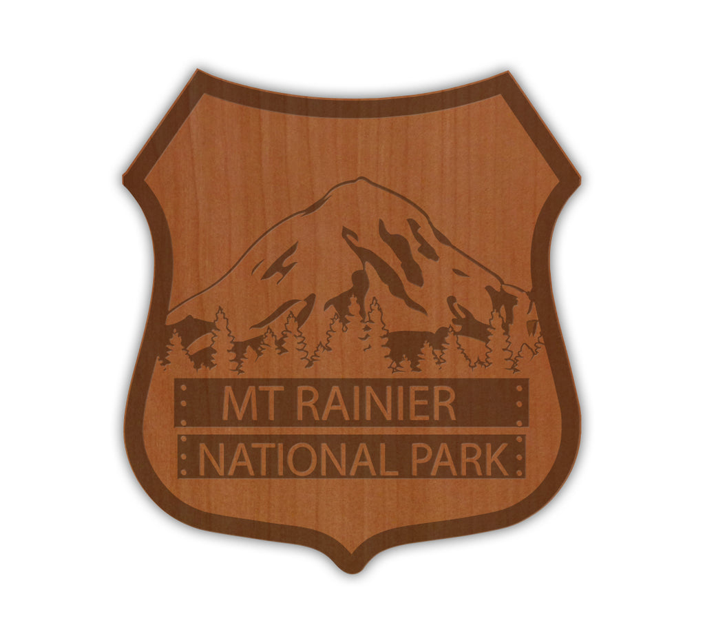 Mt. Rainier National Park Sign Real Wood Sticker