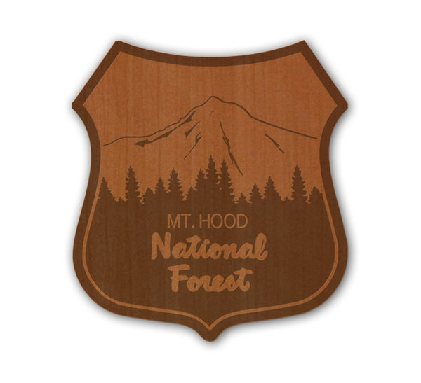 Mt Hood Badge Real Wood Sticker