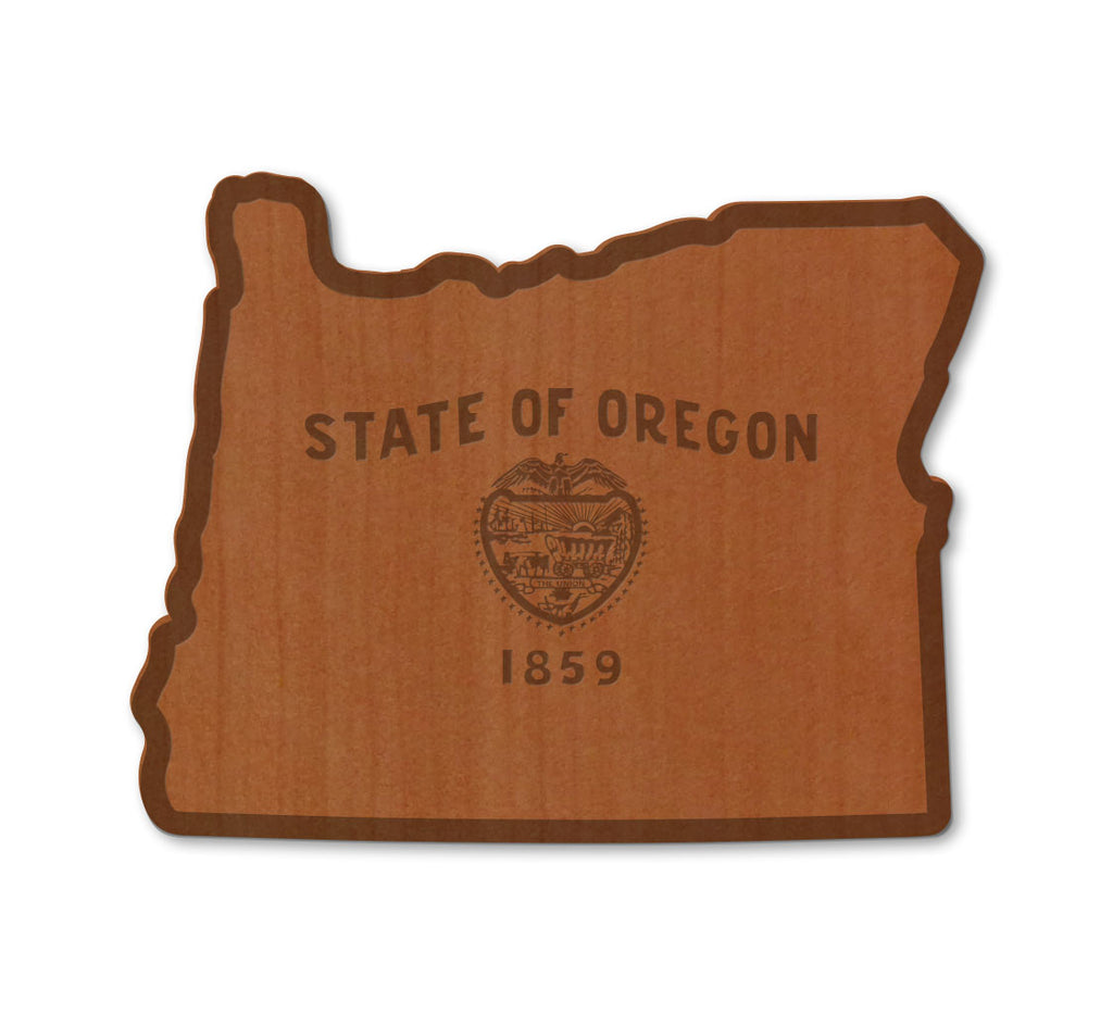 Oregon Flag Real Wood Sticker