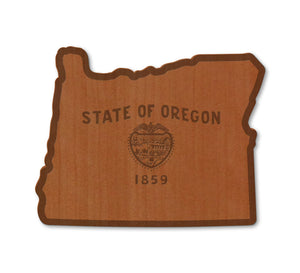 Oregon Flag Real Wood Magnet