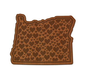 Oregon Hearts Real Wood Magnet