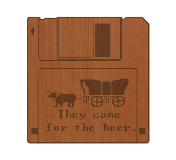 Oregon Trail Floppy Disk Real Wood Sticker