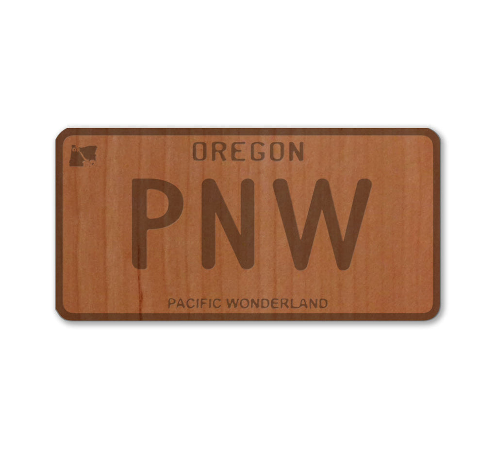 PNW State License Plate Real Wood Sticker