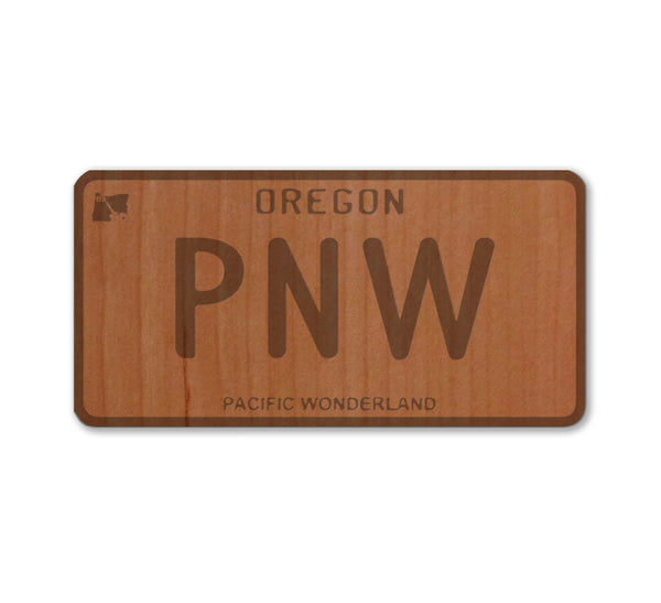PNW Oregon License Plate Real Wood Sticker