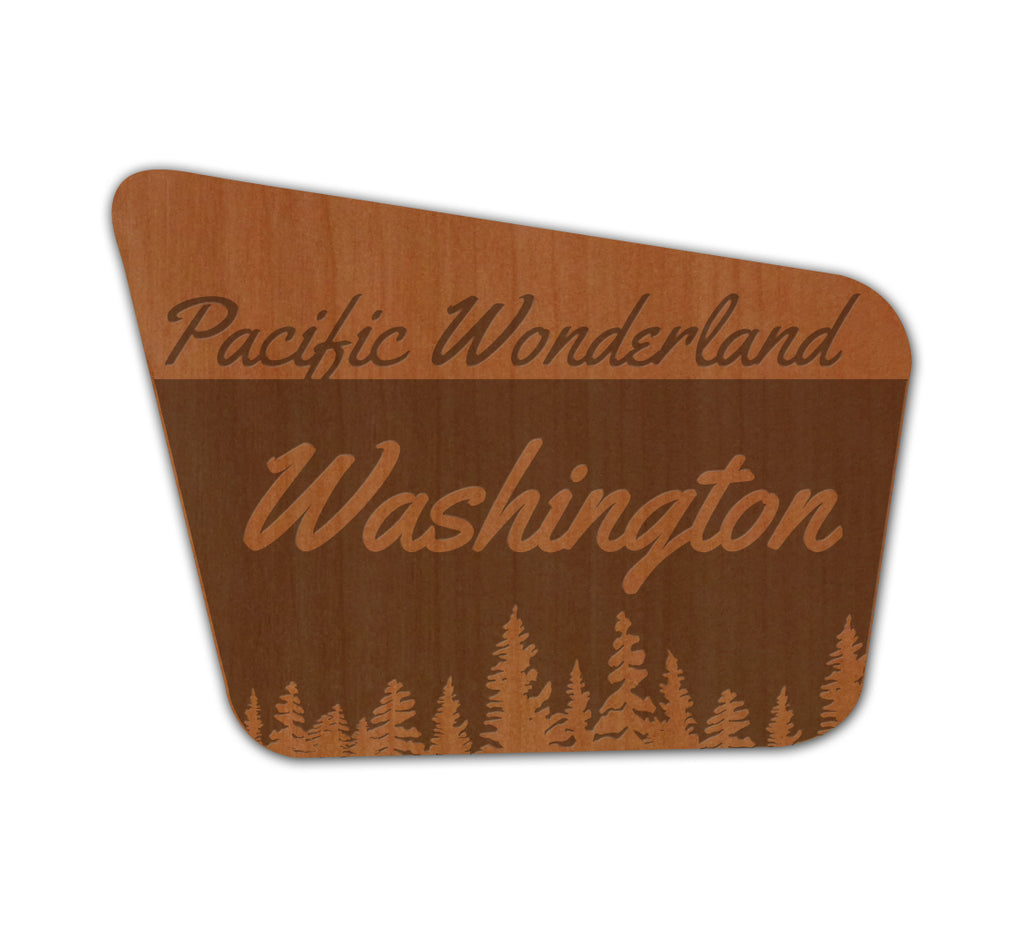Pacific Wonderland WA Sign Real Wood Sticker