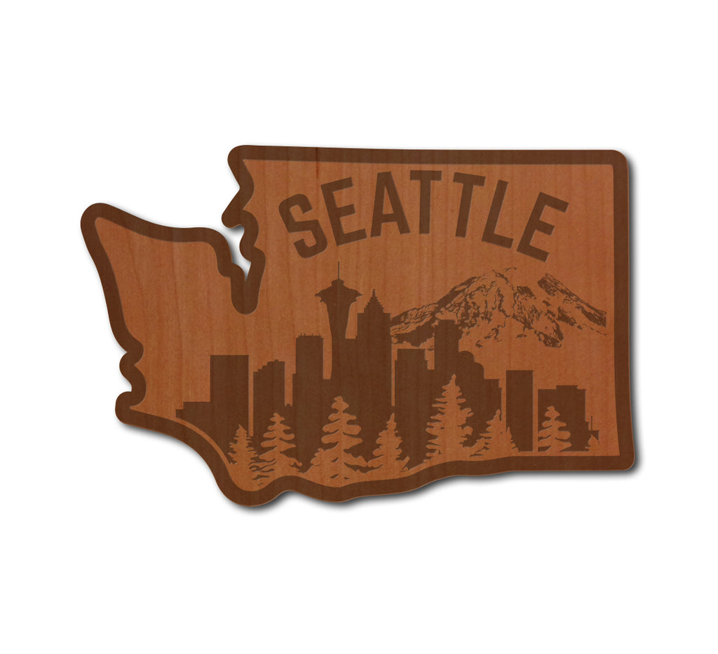 Seattle Skyline Real Wood Sticker