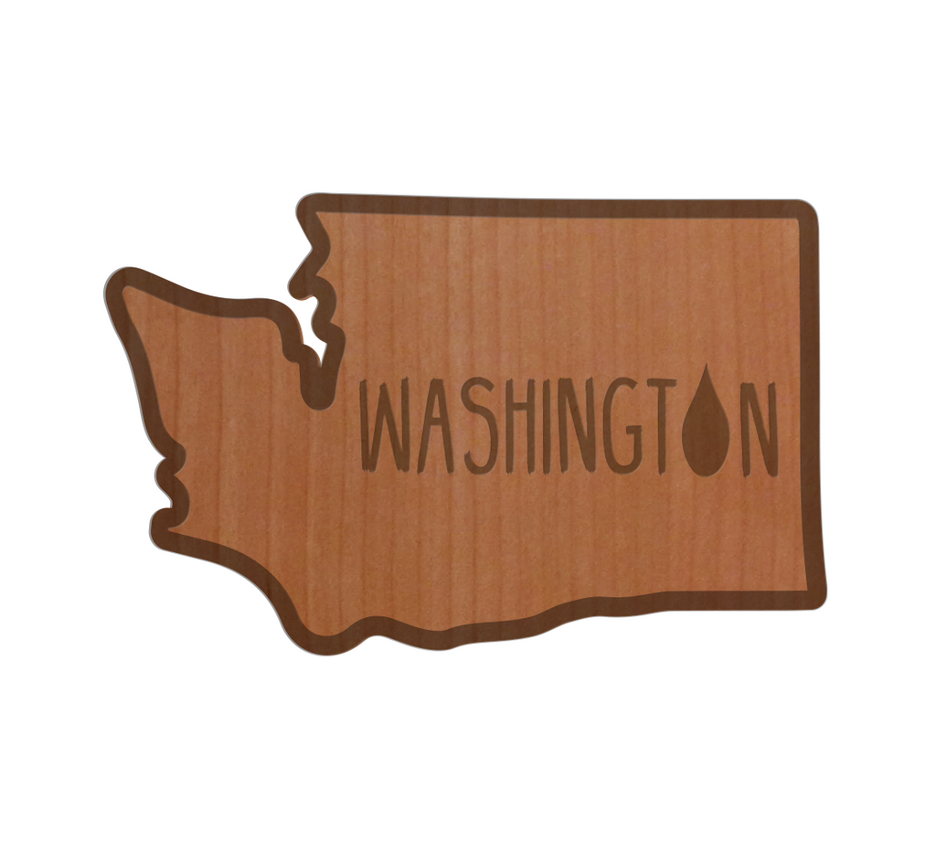 WA Raindrop Real Wood Sticker