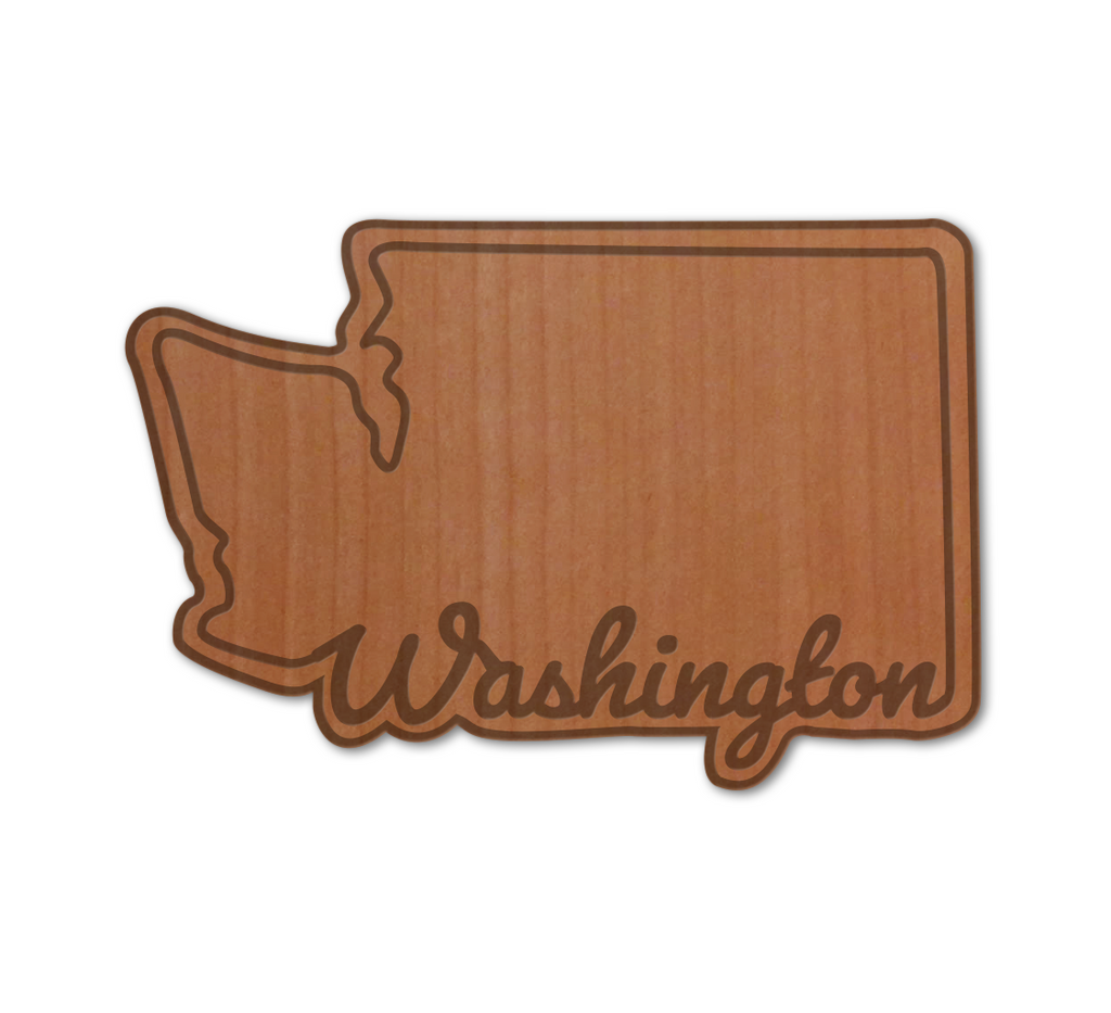 WA Script Real Wood Sticker